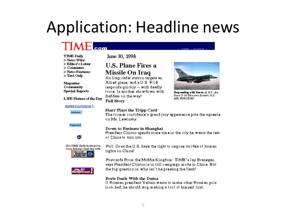 5 Application: Headline news