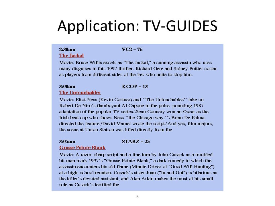 6 Application: TV-GUIDES