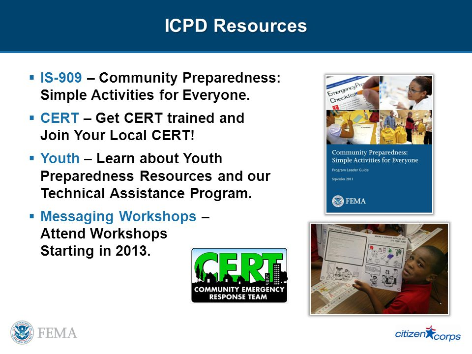 ICPD Resources IS-909 – Community Preparedness: Simple Activities for Everyone.