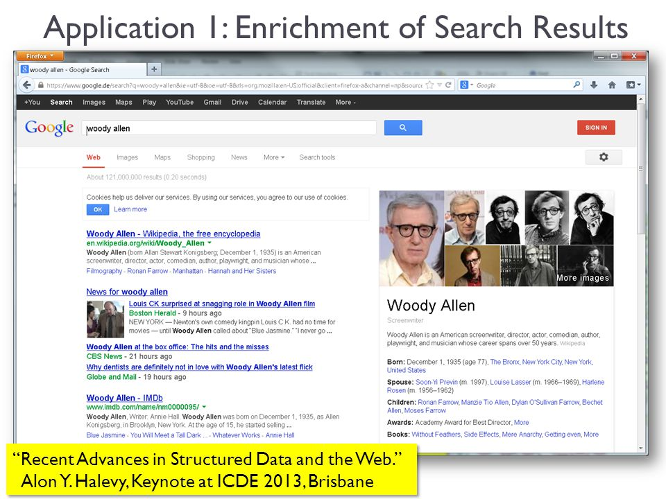 11 Application 1: Enrichment of Search Results Recent Advances in Structured Data and the Web.