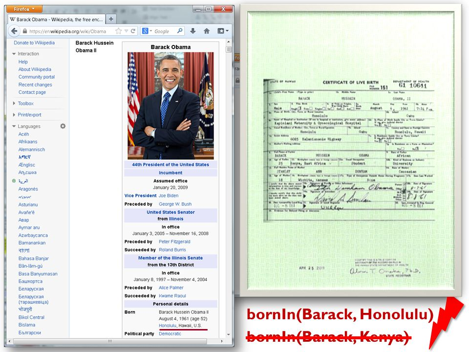 …back to Information Extraction bornIn(Barack, Honolulu) bornIn(Barack, Kenya)