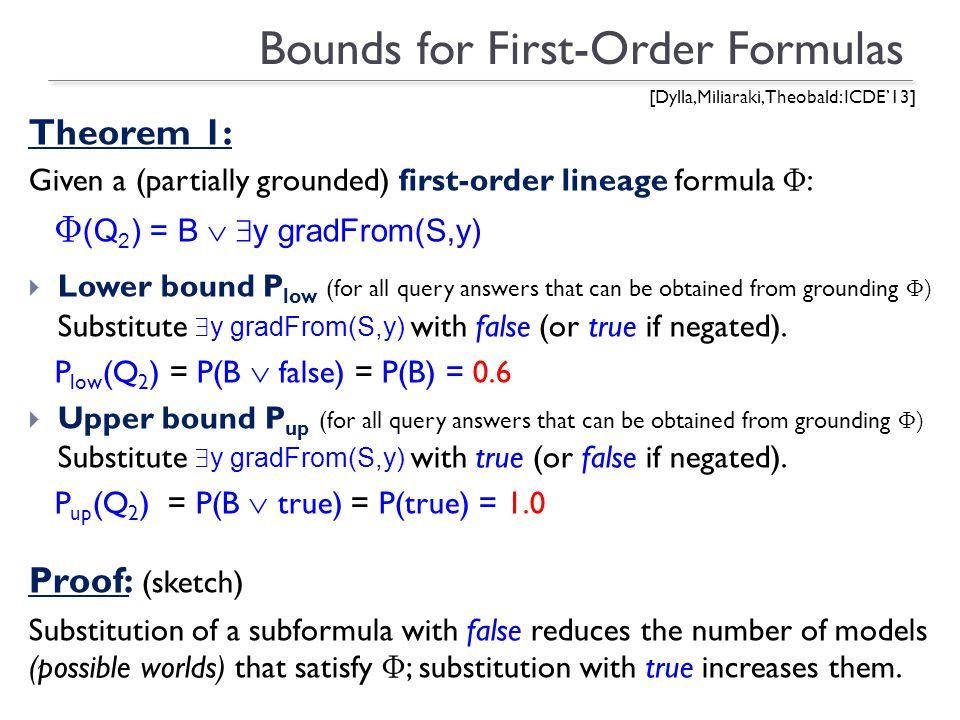 Bounds for First-Order Formulas Theorem 1: Given a (partially grounded) first-order lineage formula Φ : Φ (Q 2 ) = B y gradFrom(S,y) Lower bound P low (for all query answers that can be obtained from grounding Φ) Substitute y gradFrom(S,y) with false (or true if negated).