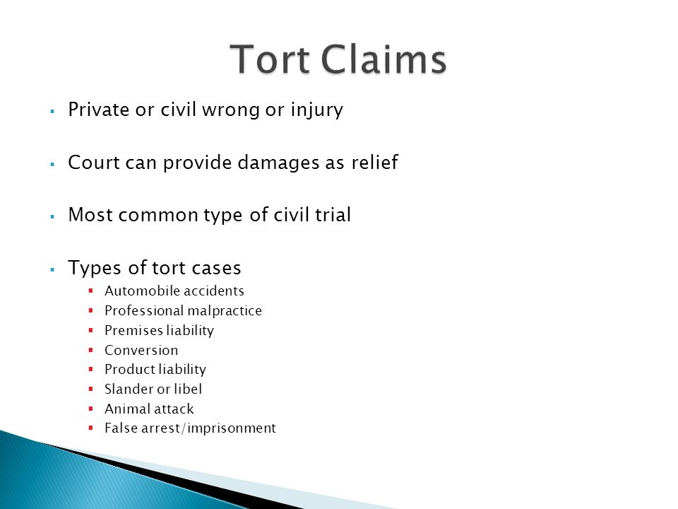 Private or civil wrong or injury Court can provide damages as relief Most common type of civil trial Types of tort cases Automobile accidents Professional malpractice Premises liability Conversion Product liability Slander or libel Animal attack False arrest/imprisonment