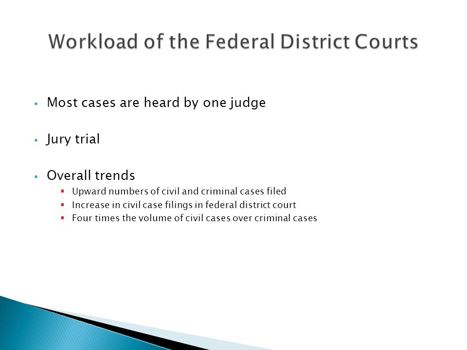 Most cases are heard by one judge Jury trial Overall trends Upward numbers of civil and criminal cases filed Increase in civil case filings in federal district court Four times the volume of civil cases over criminal cases