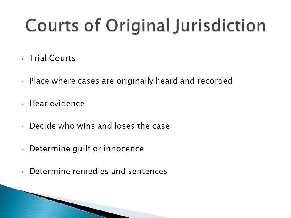 Trial Courts Place where cases are originally heard and recorded Hear evidence Decide who wins and loses the case Determine guilt or innocence Determine remedies and sentences