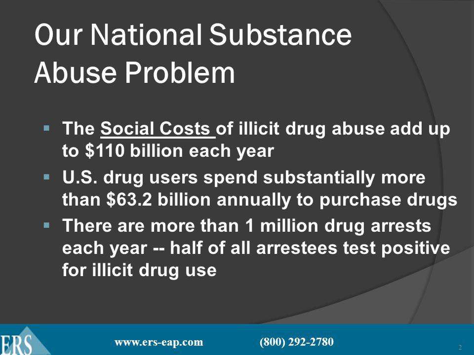 www.ers-eap.com (800) 292-2780 2 Our National Substance Abuse Problem The Social Costs of illicit drug abuse add up to $110 billion each year U.S.