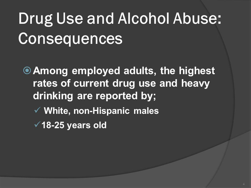 4 Drug Use and Alcohol Abuse: Consequences Among employed adults, the highest rates of current drug use and heavy drinking are reported by; White, non-Hispanic males 18-25 years old