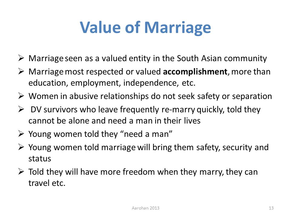 Value of Marriage Marriage seen as a valued entity in the South Asian community Marriage most respected or valued accomplishment, more than education, employment, independence, etc.