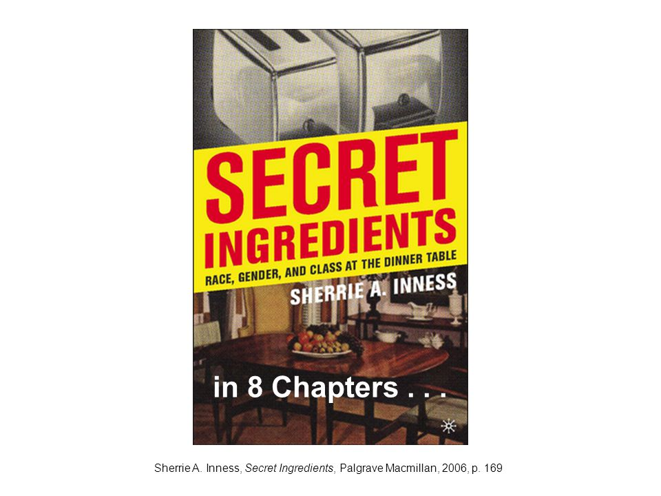 Sherrie A. Inness, Secret Ingredients, Palgrave Macmillan, 2006, p. 169 in 8 Chapters...