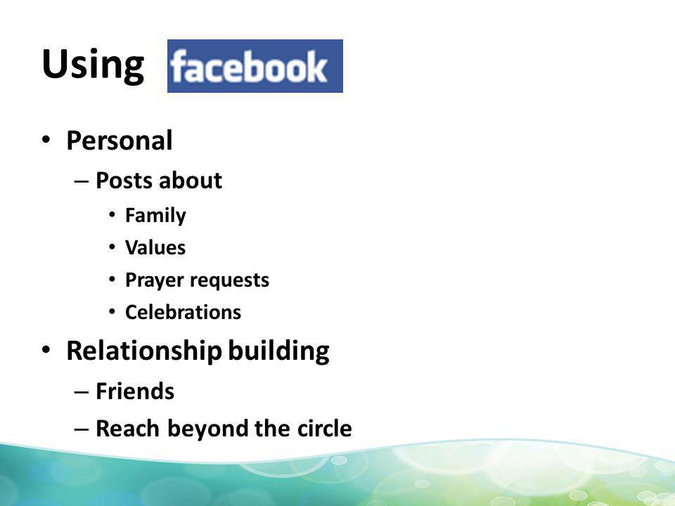 Using Personal – Posts about Family Values Prayer requests Celebrations Relationship building – Friends – Reach beyond the circle