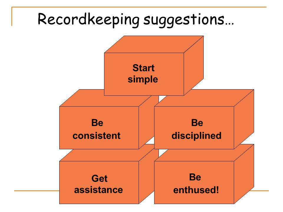 Be consistent Start simple Get assistance Be disciplined Be enthused! Recordkeeping suggestions…