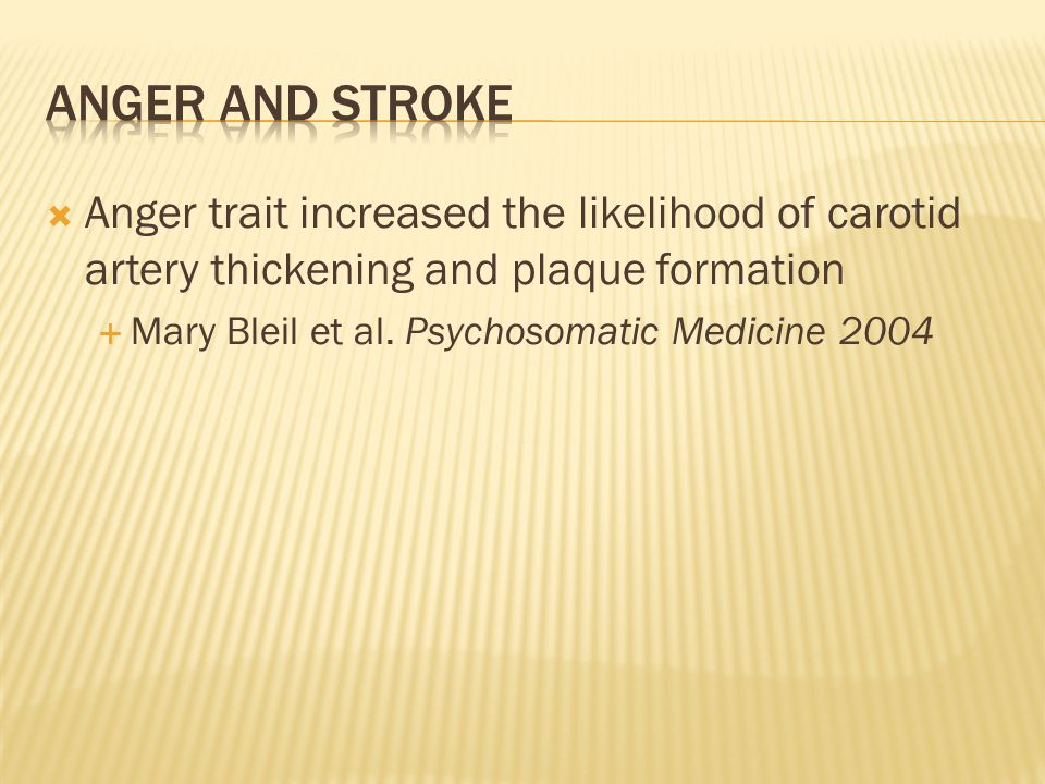 Anger trait increased the likelihood of carotid artery thickening and plaque formation Mary Bleil et al.