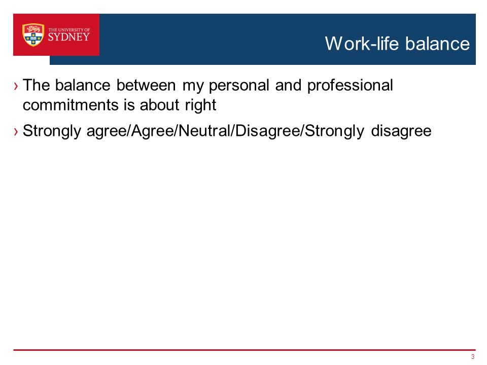 Work-life balance The balance between my personal and professional commitments is about right Strongly agree/Agree/Neutral/Disagree/Strongly disagree 3