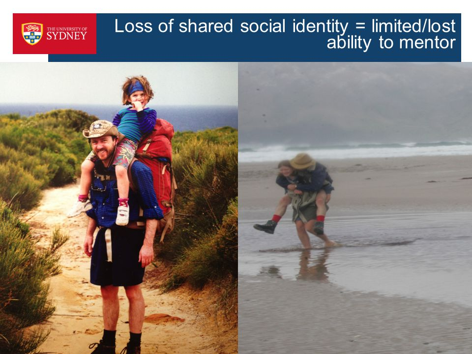 Loss of shared social identity = limited/lost ability to mentor ss 45