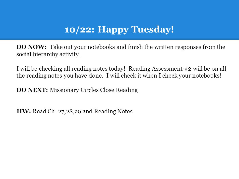 10/22: Happy Tuesday.