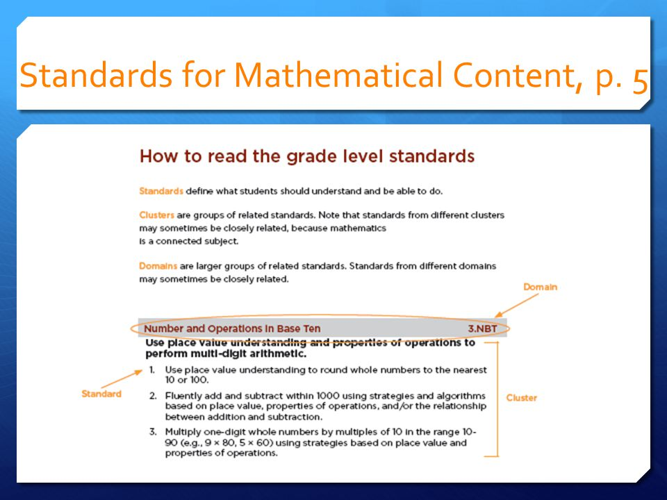 Standards for Mathematical Content, p. 5