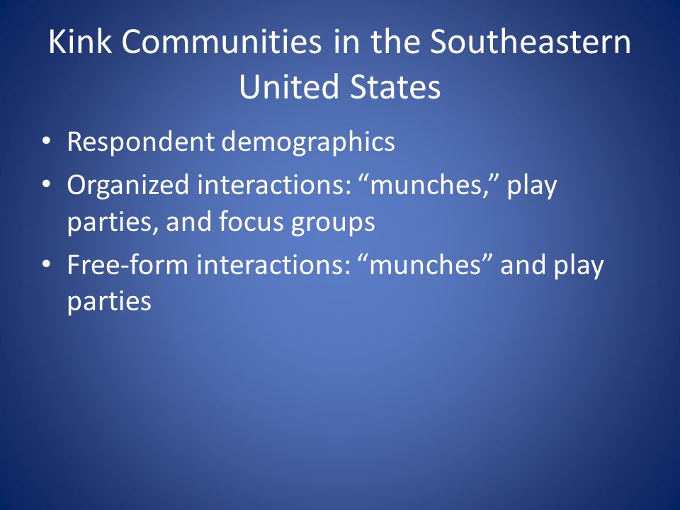 Kink Communities in the Southeastern United States Respondent demographics Organized interactions: munches, play parties, and focus groups Free-form interactions: munches and play parties