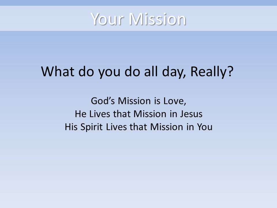 Your Mission What do you do all day, Really.