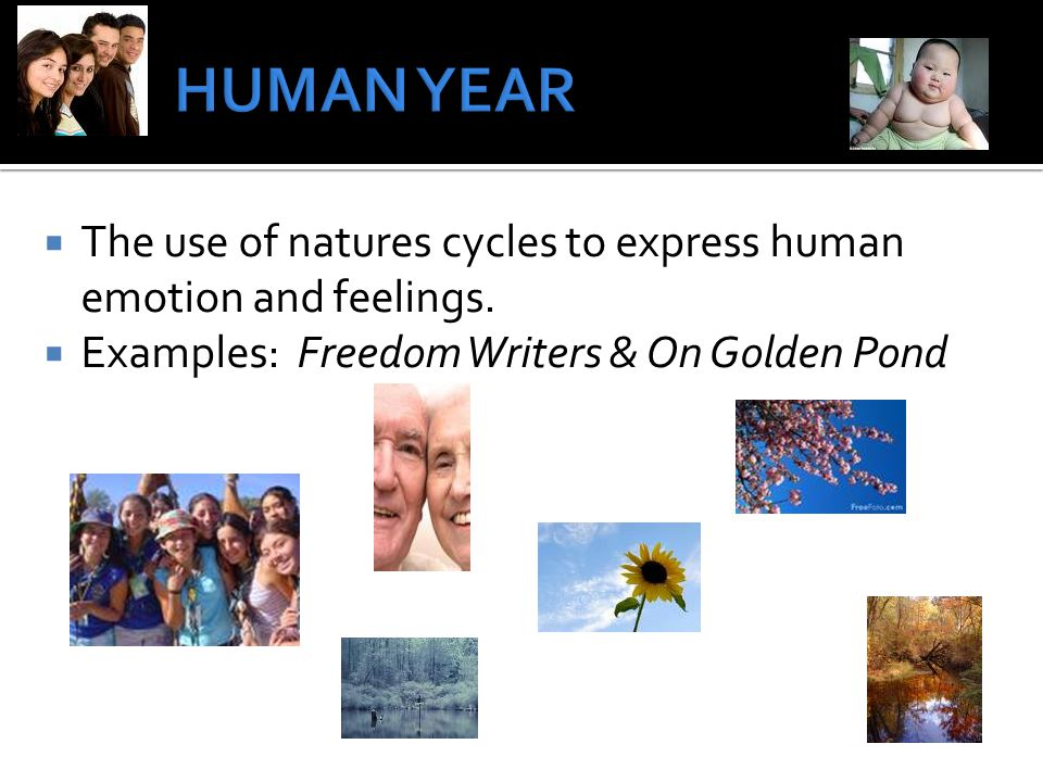 The use of natures cycles to express human emotion and feelings.