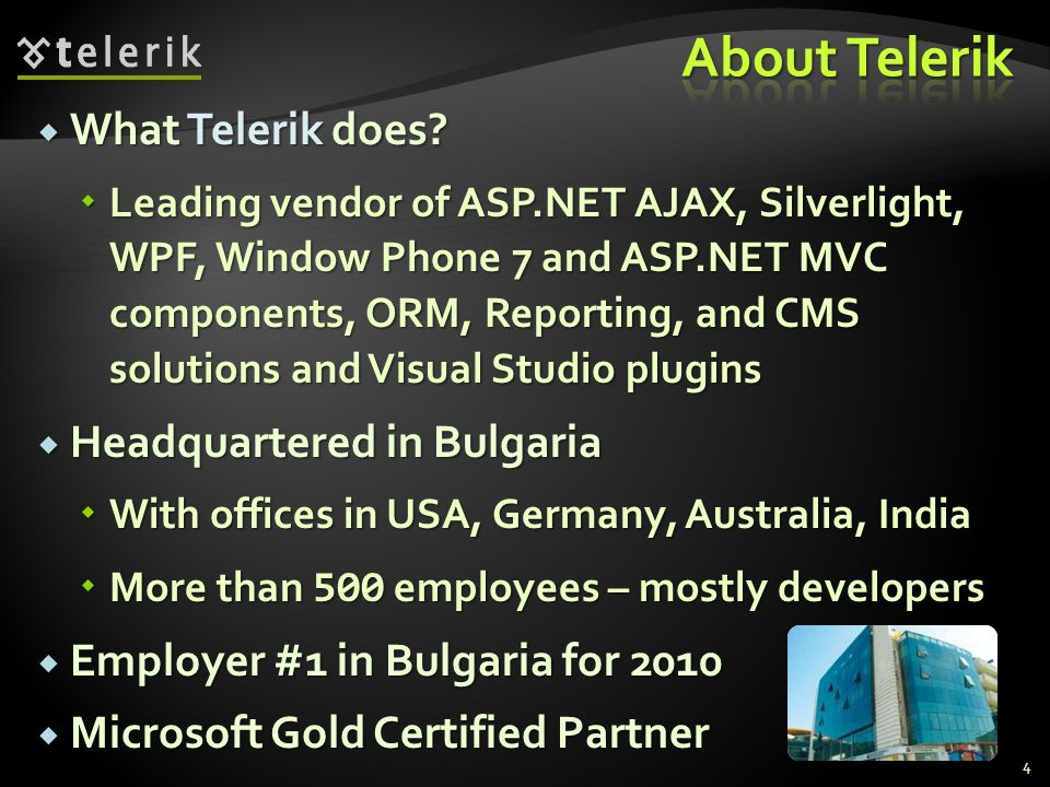 What Telerik does. What Telerik does.