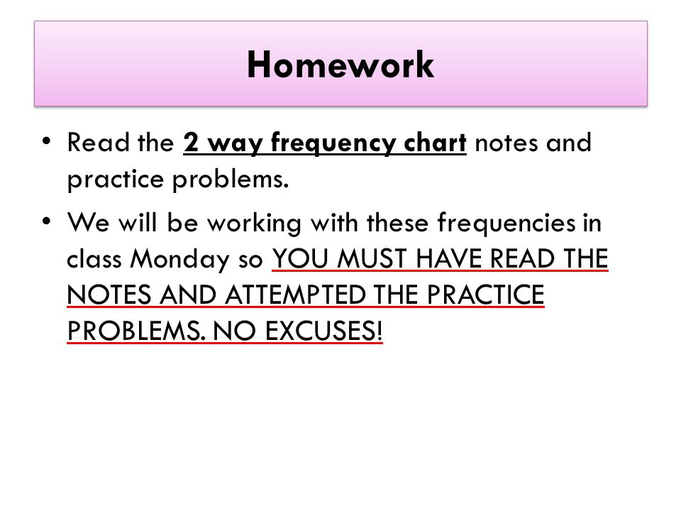 Homework Read the 2 way frequency chart notes and practice problems.
