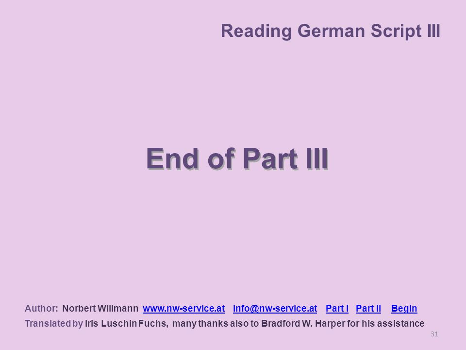 End of Part III 31 Author: Norbert Willmann www.nw-service.at info@nw-service.at Part I Part II Beginwww.nw-service.atinfo@nw-service.atPart IPart IIBegin Translated by Iris Luschin Fuchs, many thanks also to Bradford W.