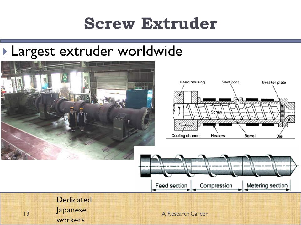 Screw Extruder Largest extruder worldwide 13A Research Career Dedicated Japanese workers