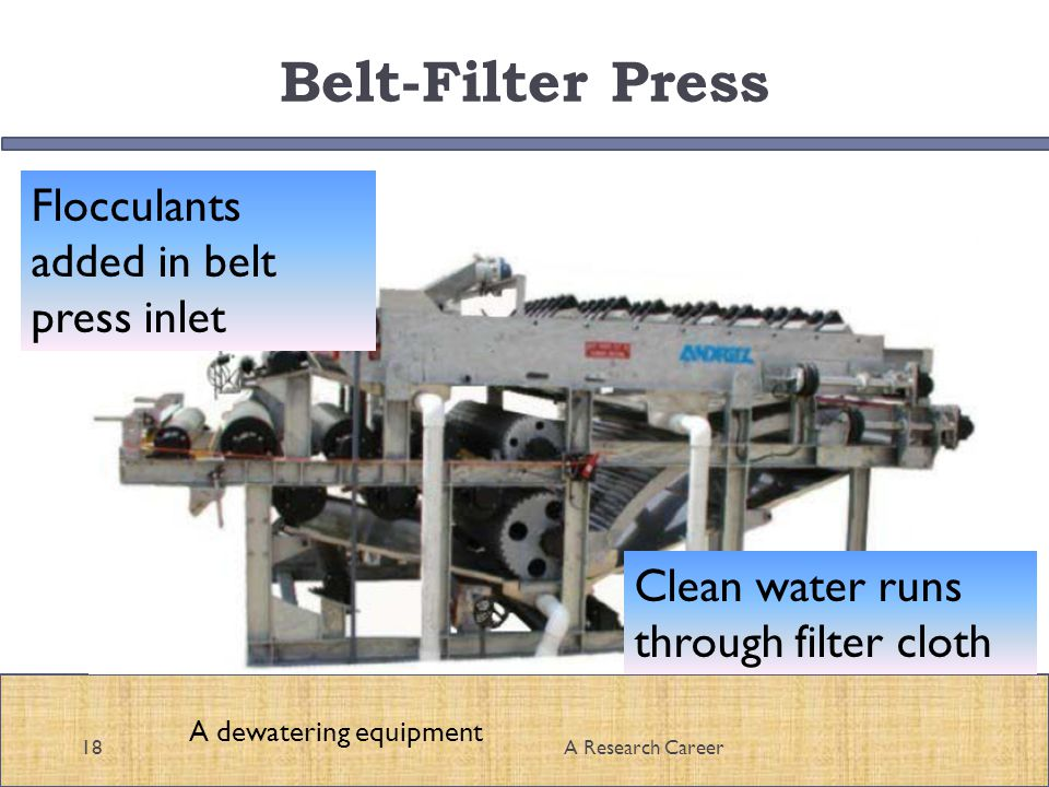 Belt-Filter Press 18A Research Career A dewatering equipment Flocculants added in belt press inlet Clean water runs through filter cloth