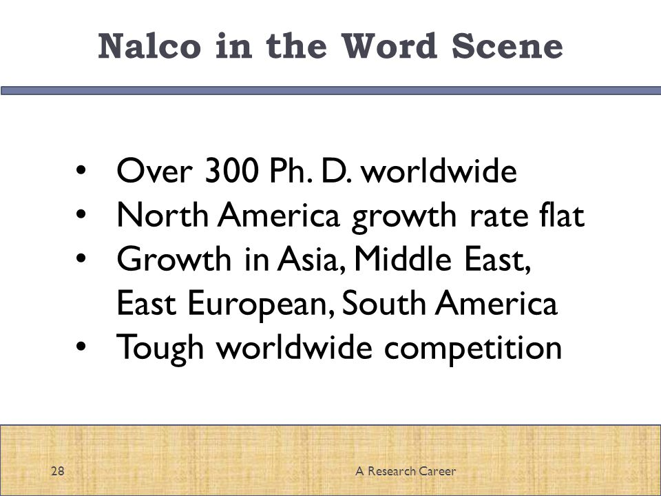 Nalco in the Word Scene 28A Research Career Over 300 Ph.