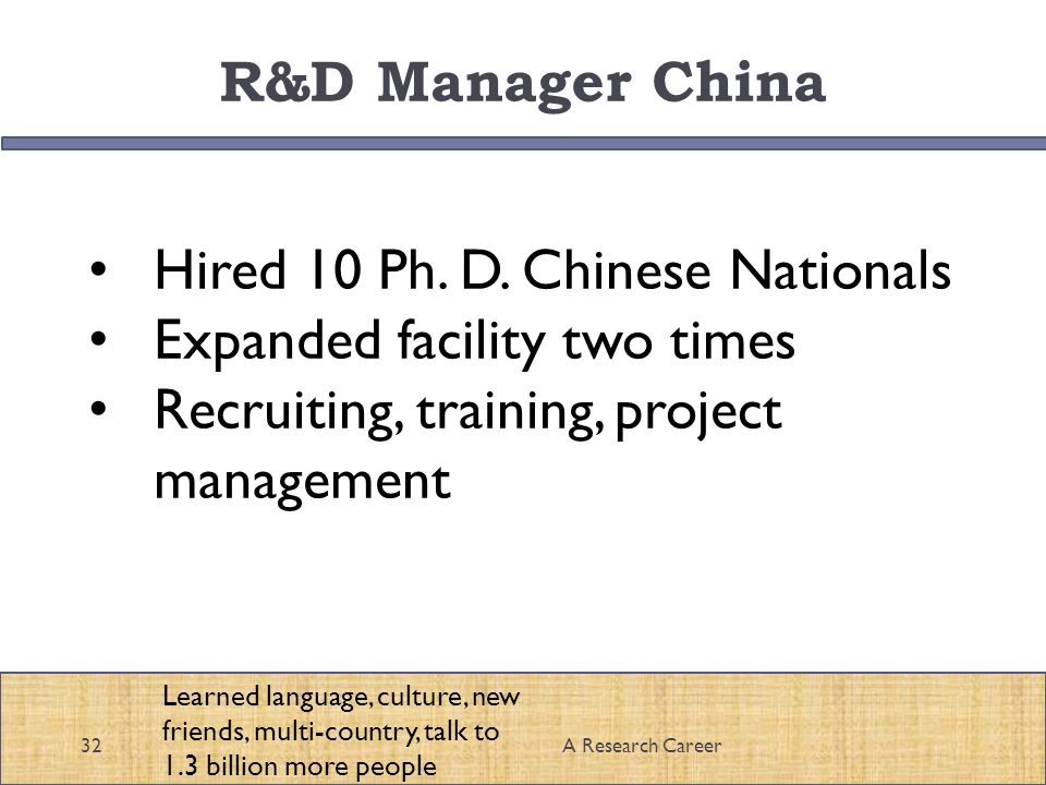 R&D Manager China 32A Research Career Hired 10 Ph.