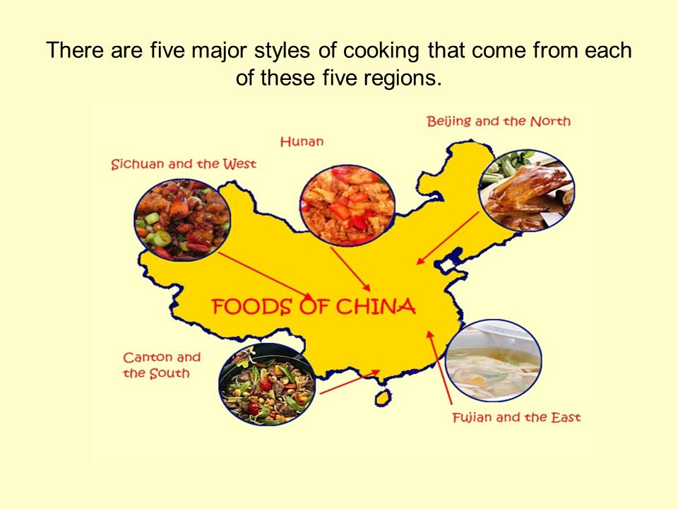 There are five major styles of cooking that come from each of these five regions.