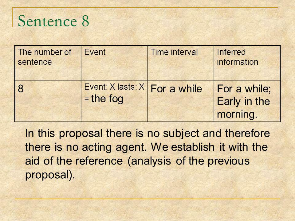 Sentence 8 The number of sentence EventTime intervalInferred information 8 Event: Х lasts; Х = the fog For a whileFor a while; Early in the morning.