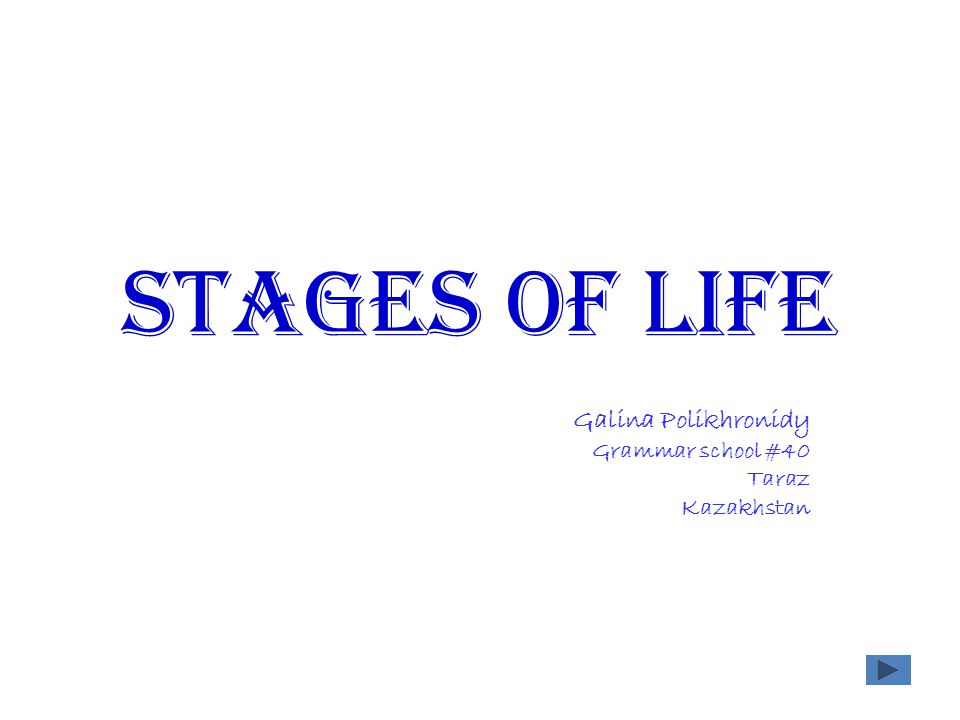 Stages of life Galina Polikhronidy Grammar school #40 Taraz Kazakhstan