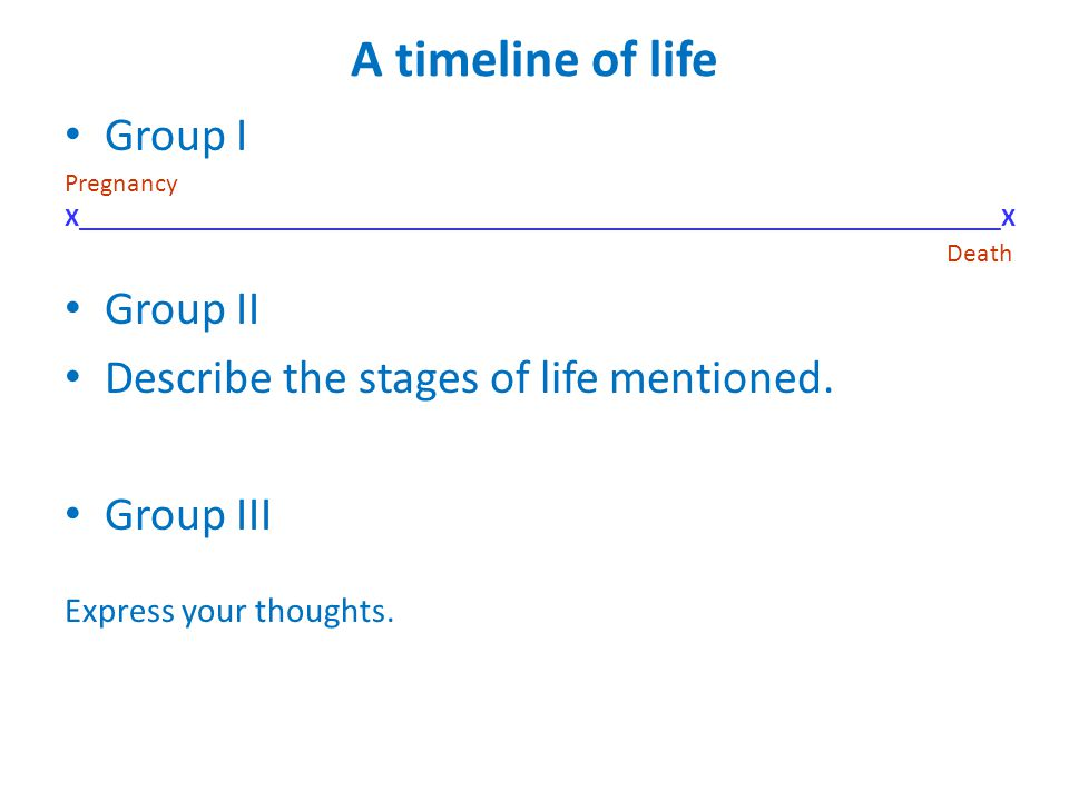 A timeline of life Group I Pregnancy X_____________________________________________________________________X Death Group II Describe the stages of life mentioned.