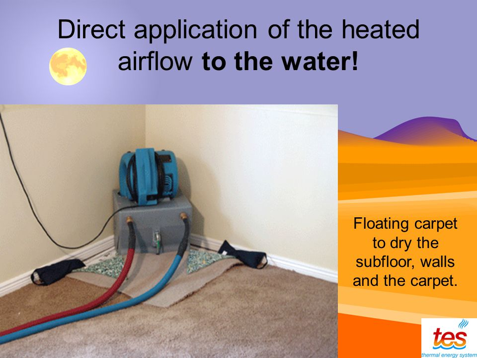 Direct application of the heated airflow to the water.