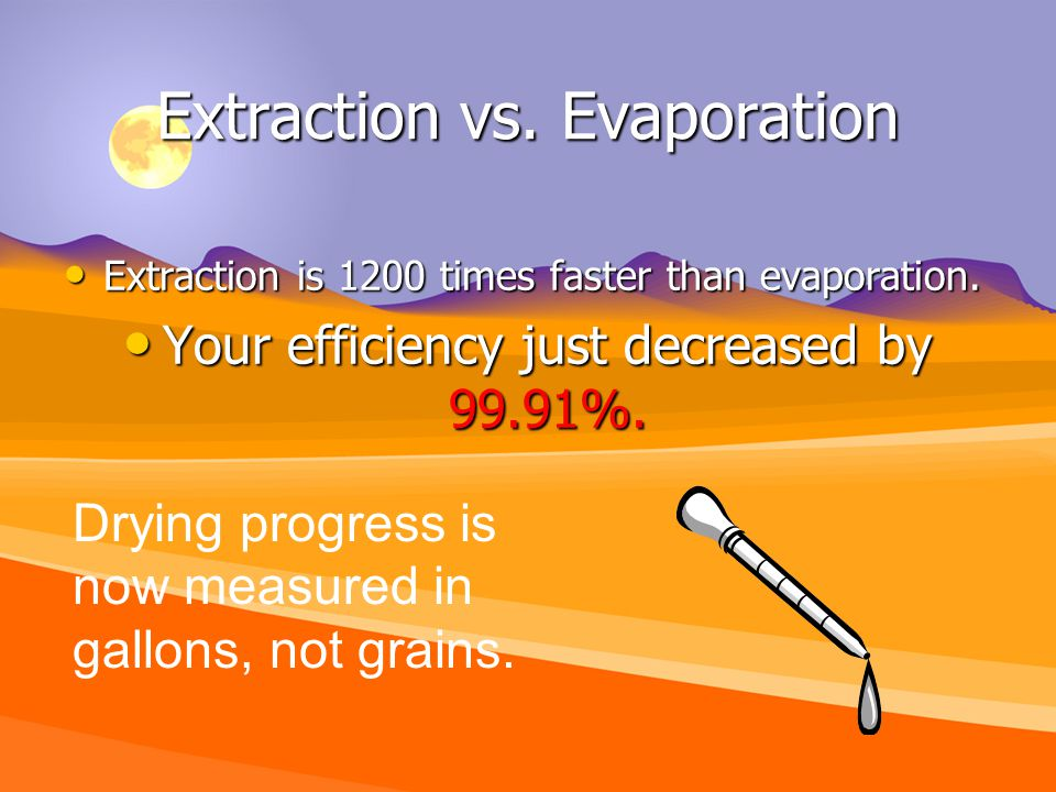 Extraction vs. Evaporation Extraction is 1200 times faster than evaporation.