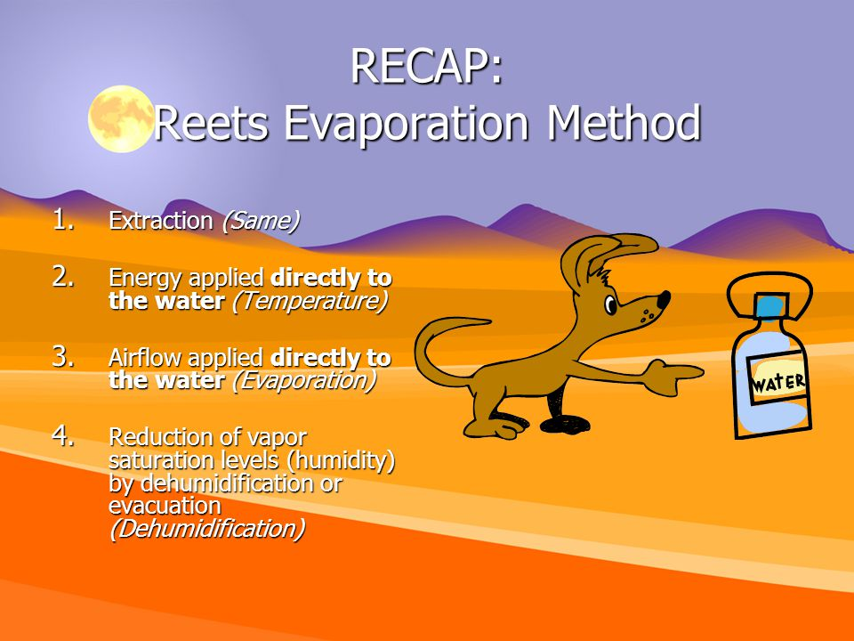RECAP: Reets Evaporation Method 1. Extraction (Same) 2.