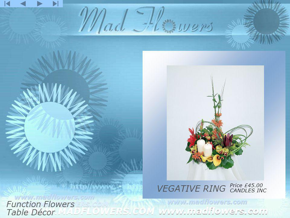 Click to edit Master title style Click to edit Master text styles –Second level Third level –Fourth level »Fifth level WWW.MADFLOWERS.COM www.madflowers.com WWW.MADFLOWERS.COM www.madflowers.com WWW.MADFLOWERS.COM www.madflowers.com WWW.MADFLOWERS.COM www.madflowers.com WWW.MADFLOWERS.COM www.madflowers.com VEGATIVE RING Price £45.00 CANDLES INC Function Flowers Table Décor