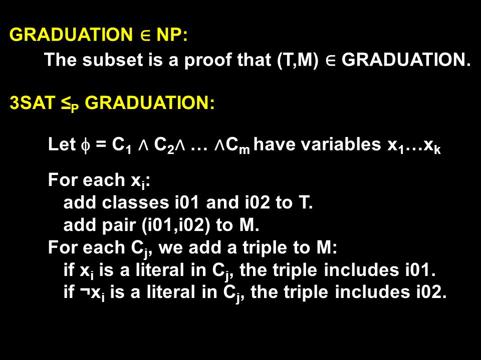 GRADUATION NP: The subset is a proof that (T,M) GRADUATION.
