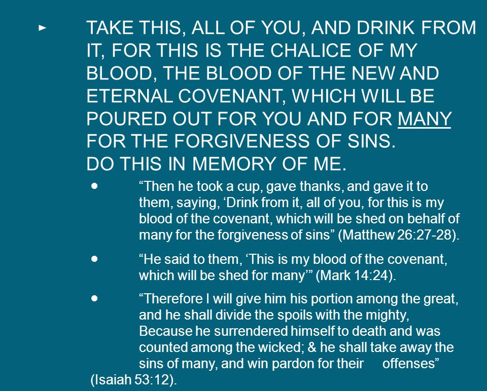 TAKE THIS, ALL OF YOU, AND DRINK FROM IT, FOR THIS IS THE CHALICE OF MY BLOOD, THE BLOOD OF THE NEW AND ETERNAL COVENANT, WHICH WILL BE POURED OUT FOR YOU AND FOR MANY FOR THE FORGIVENESS OF SINS.