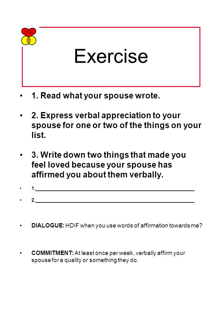 Exercise 1. Read what your spouse wrote. 2.