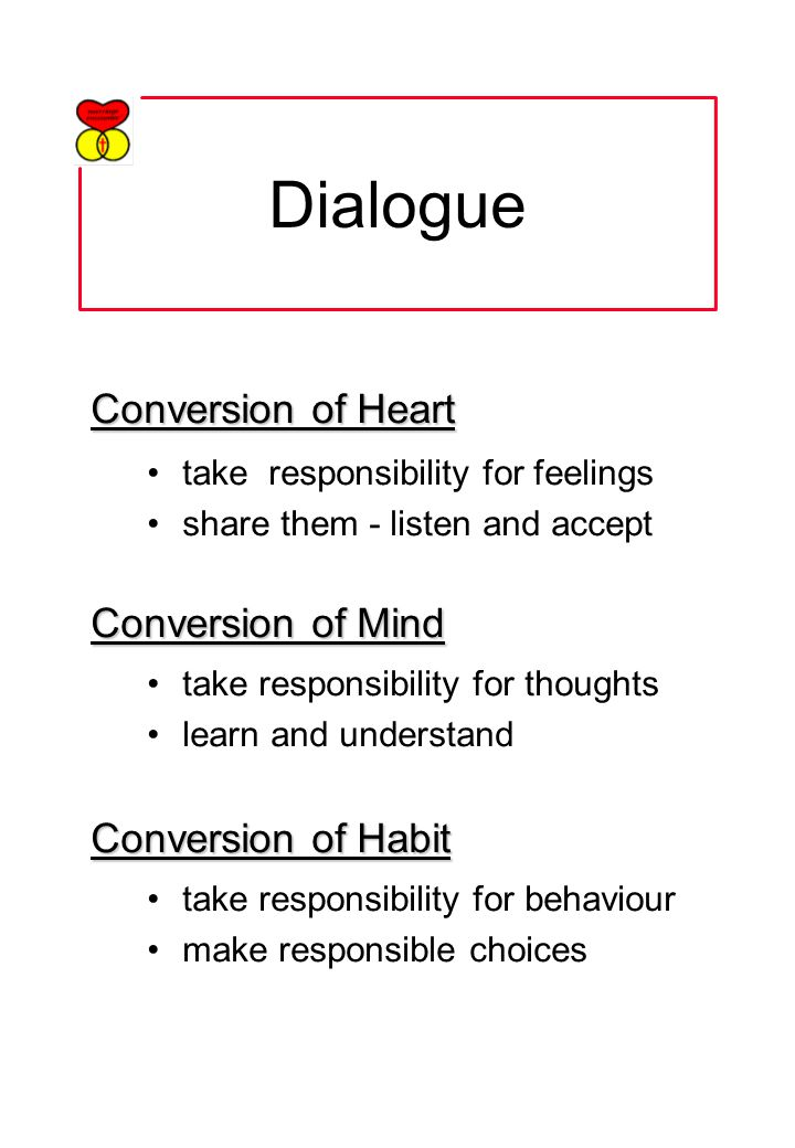 Dialogue Conversion of Heart take responsibility for feelings share them - listen and accept Conversion of Mind take responsibility for thoughts learn and understand Conversion of Habit take responsibility for behaviour make responsible choices