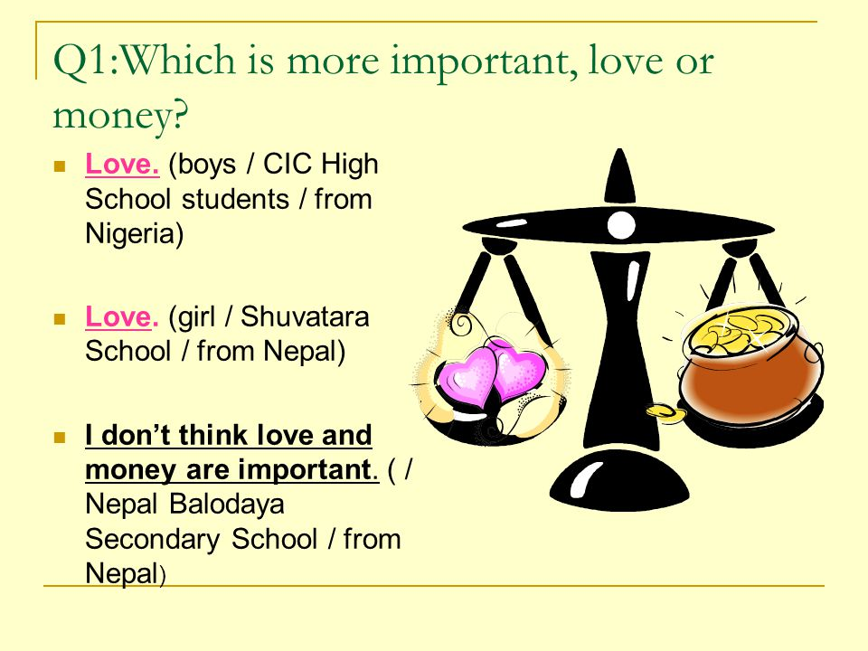 Q1:Which is more important, love or money. Love.