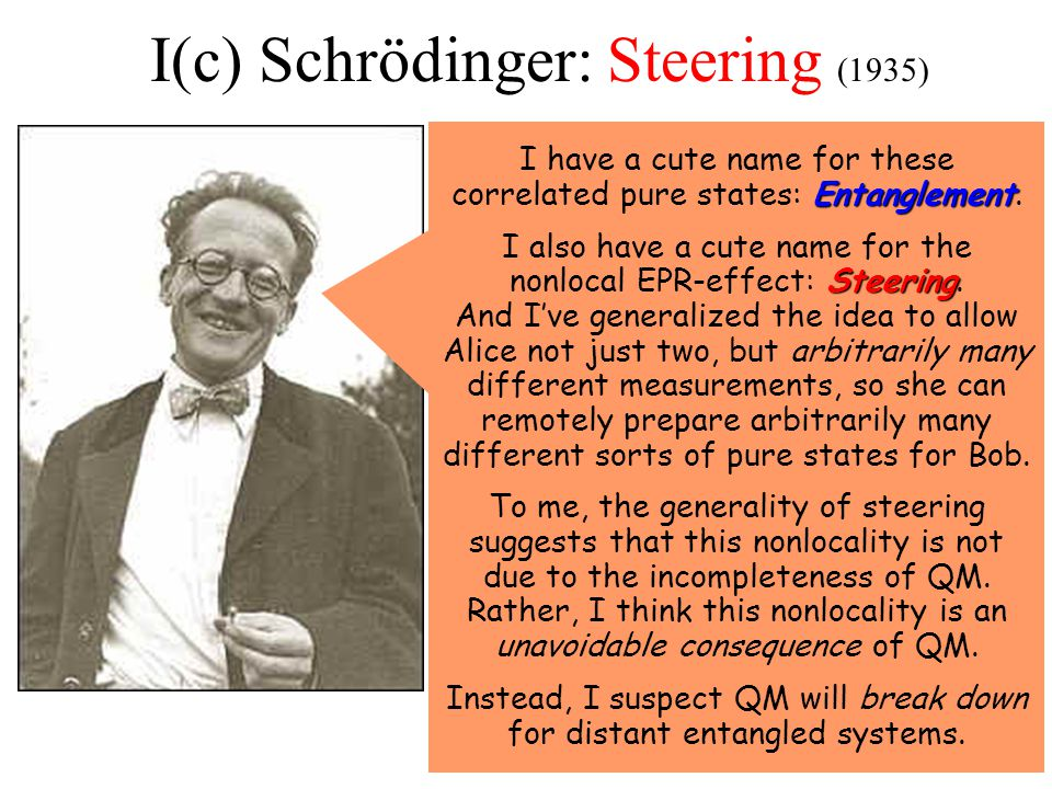 I(c) Schrödinger: Steering (1935) Entanglement I have a cute name for these correlated pure states: Entanglement.