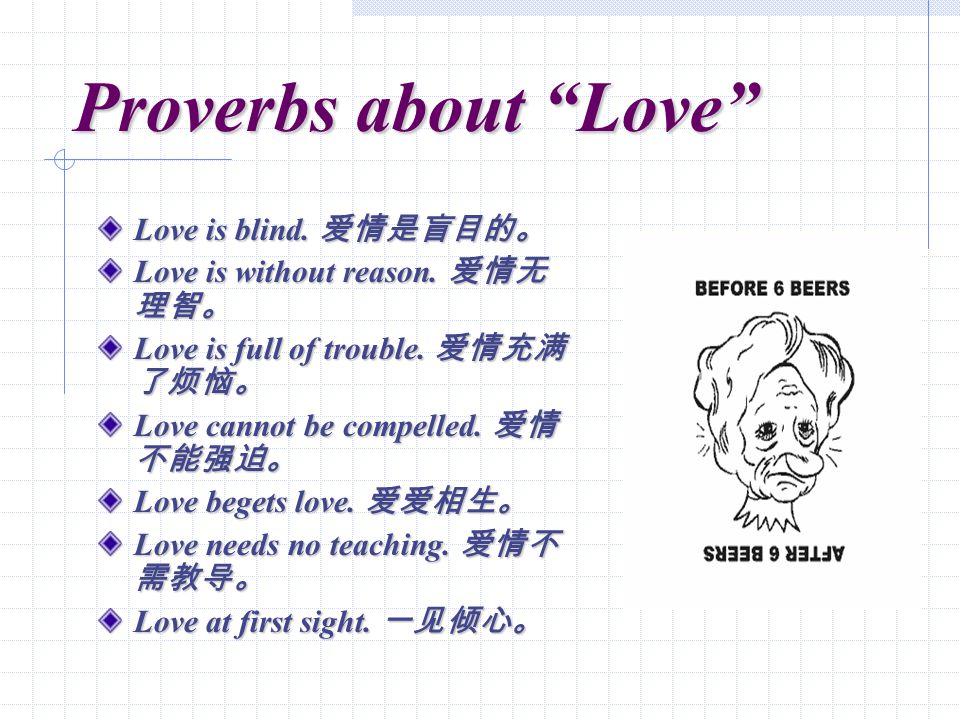 Proverbs about Love Love is blind. Love is blind.