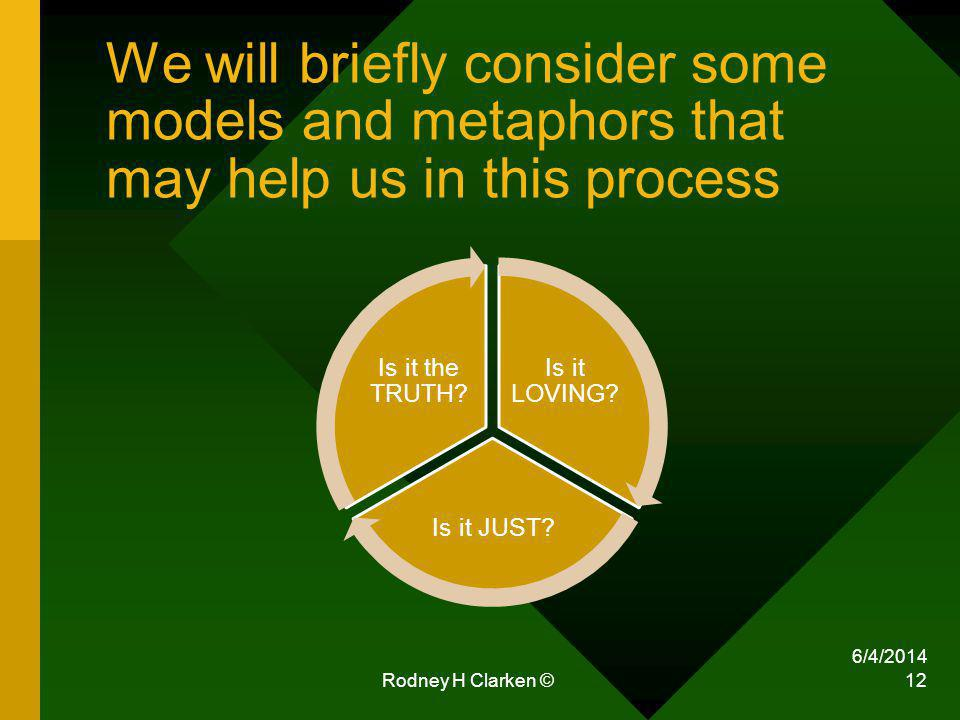 We will briefly consider some models and metaphors that may help us in this process Is it LOVING.