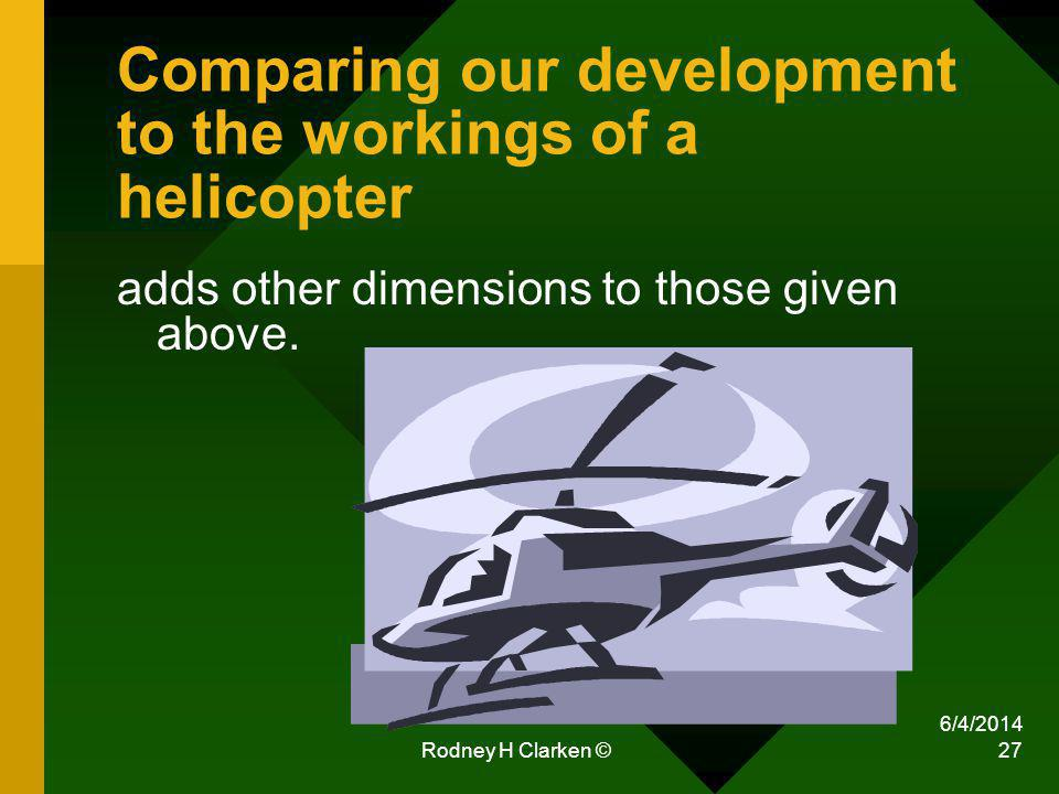 6/4/2014 Rodney H Clarken © 27 Comparing our development to the workings of a helicopter adds other dimensions to those given above.