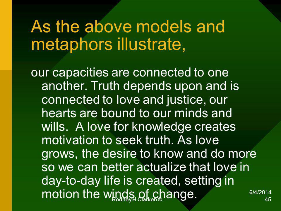 6/4/2014 Rodney H Clarken © 45 As the above models and metaphors illustrate, our capacities are connected to one another.