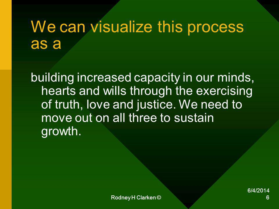6/4/2014 Rodney H Clarken © 6 We can visualize this process as a building increased capacity in our minds, hearts and wills through the exercising of truth, love and justice.