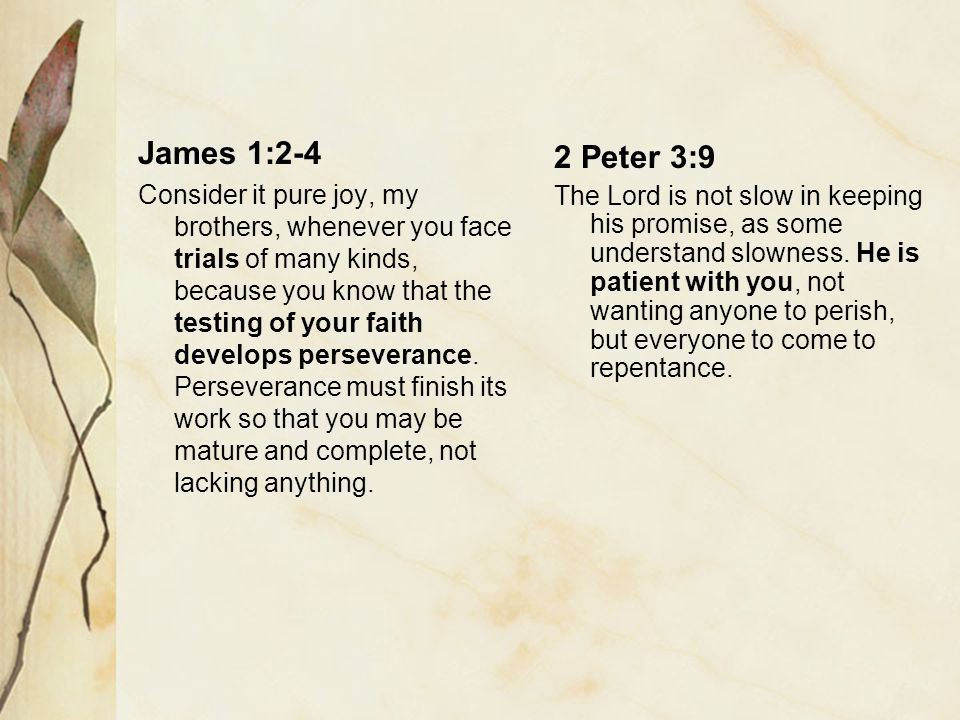 James 1:2-4 Consider it pure joy, my brothers, whenever you face trials of many kinds, because you know that the testing of your faith develops perseverance.